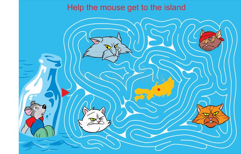 Labyrint met een muis en katten vector illustratie