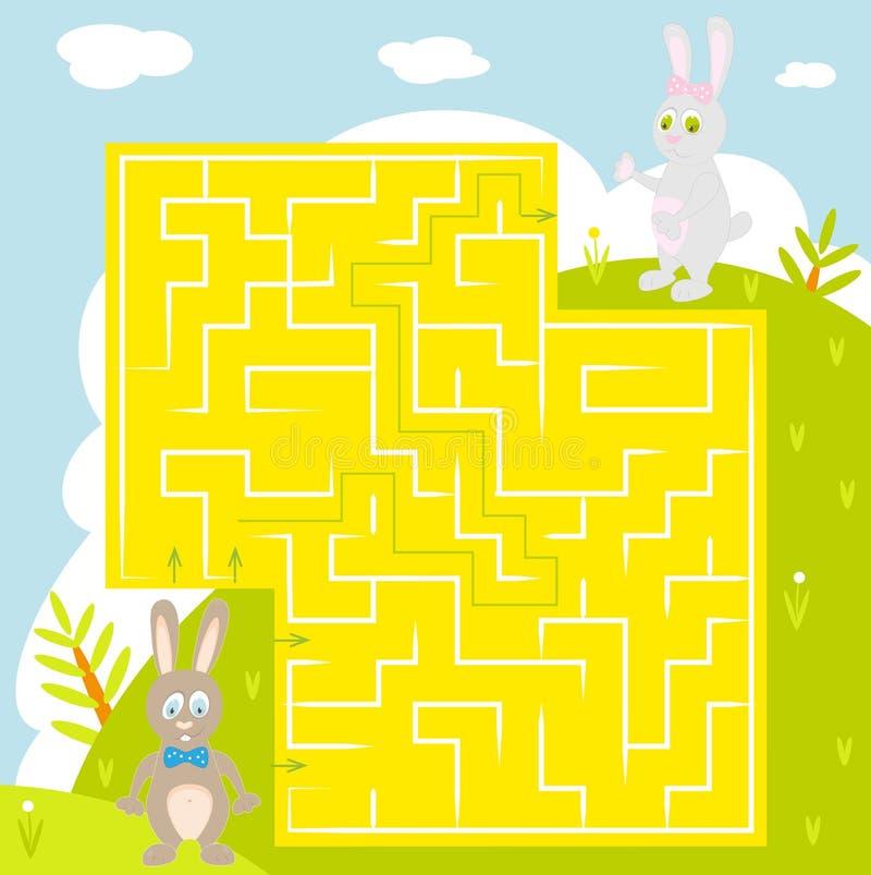 Labyrint met konijn met antwoord Vind correcte manier royalty-vrije illustratie
