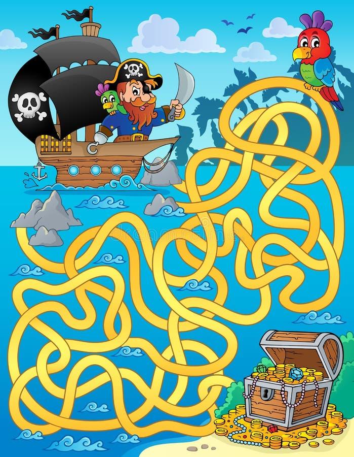 Labyrint 1 met piraat en schat royalty-vrije illustratie