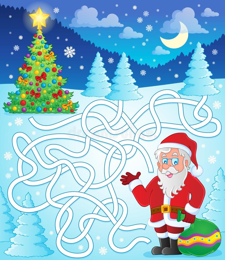 Labyrint 11 met Santa Claus vector illustratie