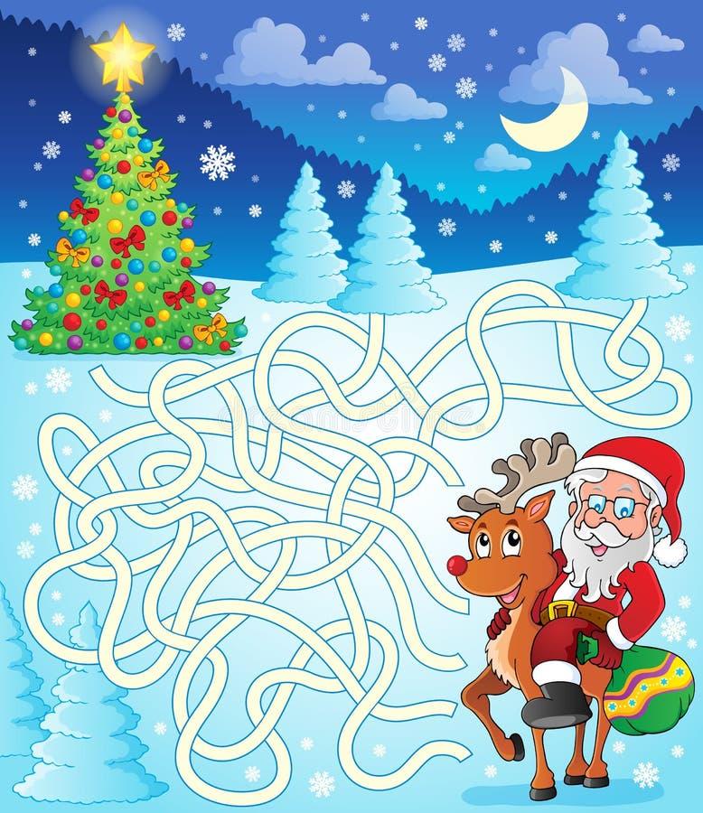 Labyrint 12 met Santa Claus en herten vector illustratie