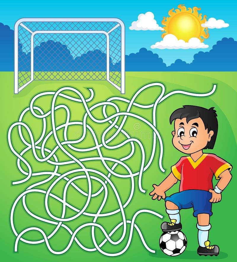 Labyrint 5 met voetballer vector illustratie