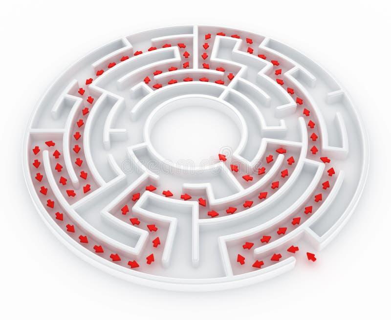 Labyrint met weg vector illustratie