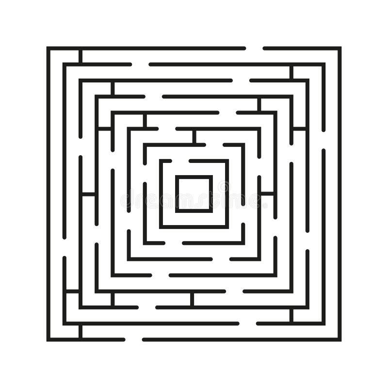 Labyrint minimaal pictogram Het vectorsymbool van het concepten vierkant labyrint of embleemelement in dunne lijnstijl stock illustratie