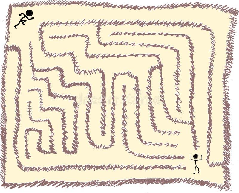 Labyrint nummer åtta som mycket är lätt, blyertspennaslaglängdstil, vektordiagram stock illustrationer