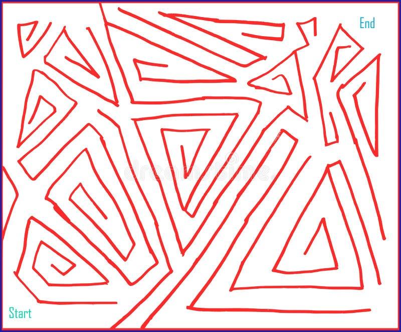 Labyrint nummer fyra som mycket är lätt, vektordiagram royaltyfri illustrationer