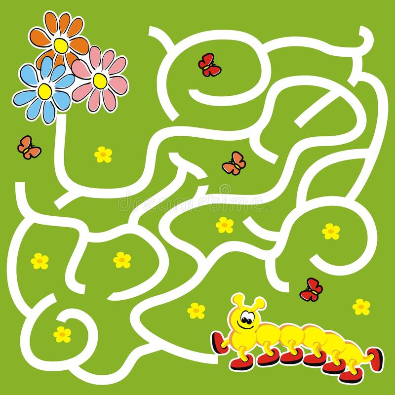 Labyrint, raadsspel voor kinderen, rupsband en bloemen vector illustratie