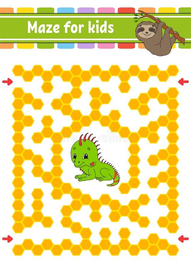 labyrint Spel voor jonge geitjes Grappig labyrint Onderwijs die aantekenvel ontwikkelen Activiteitenpagina Raadsel voor kinderen  vector illustratie