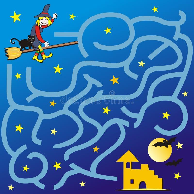 Labyrint, spel voor kinderen, Halloween royalty-vrije illustratie