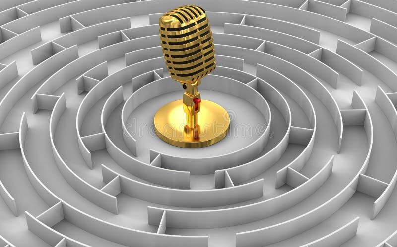 Labyrint till mikrofonen vektor illustrationer