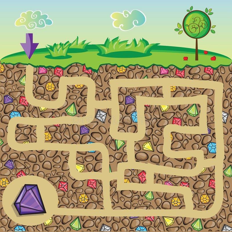 Labyrint voor kinderen - aard, stenen en edelstenen onder de grond
