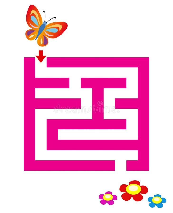 Labyrint voor kinderen met vlinder & bloemen stock illustratie
