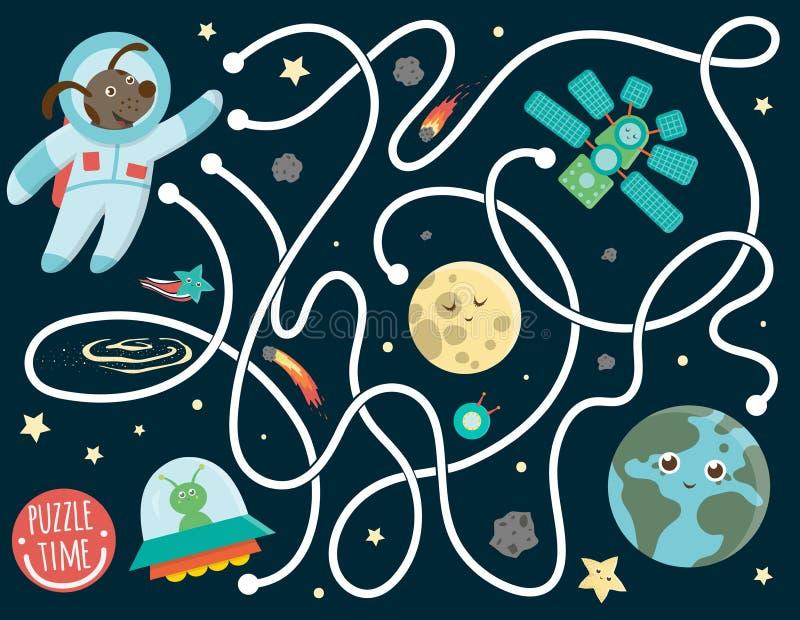 Labyrint voor kinderen Peuter ruimteactiviteit vector illustratie
