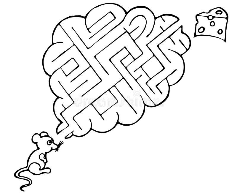 Labyrint voor muis en kaas vector illustratie