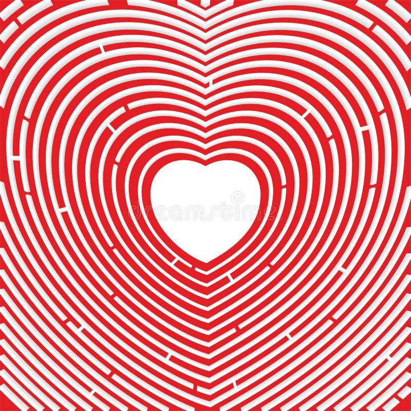 labyrint Weg aan hart Rood nam toe Symbool van liefde royalty-vrije illustratie