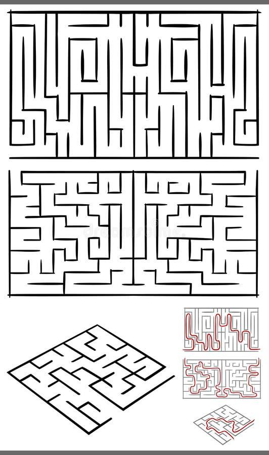 Labyrinten of geplaatste labyrintendiagrammen stock illustratie