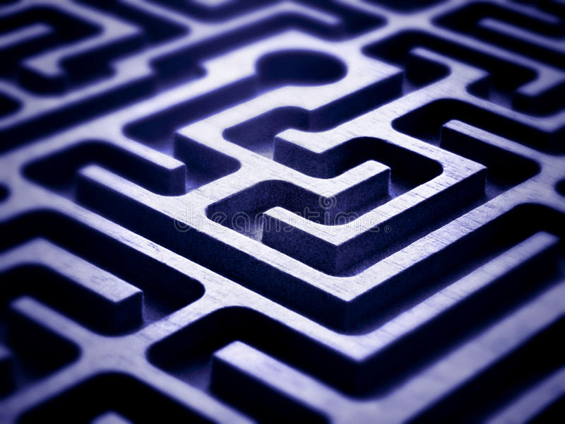 Labyrinth. Close up of a wooden labyrinth royalty free stock image
