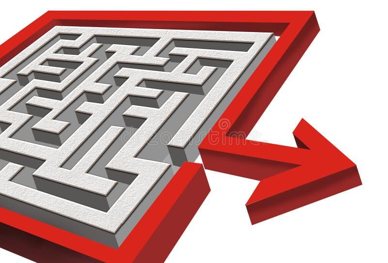 Labyrinth 3d mit Ausgang lizenzfreie abbildung