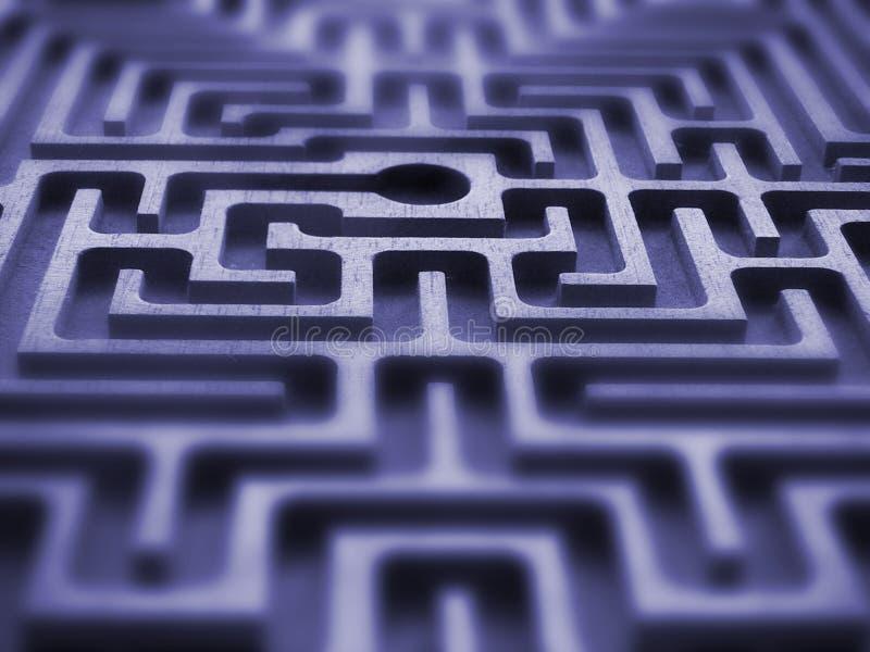 Labyrinth. Symmetric texture - blue light