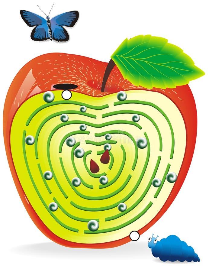 Labyrinth in apple vector illustration