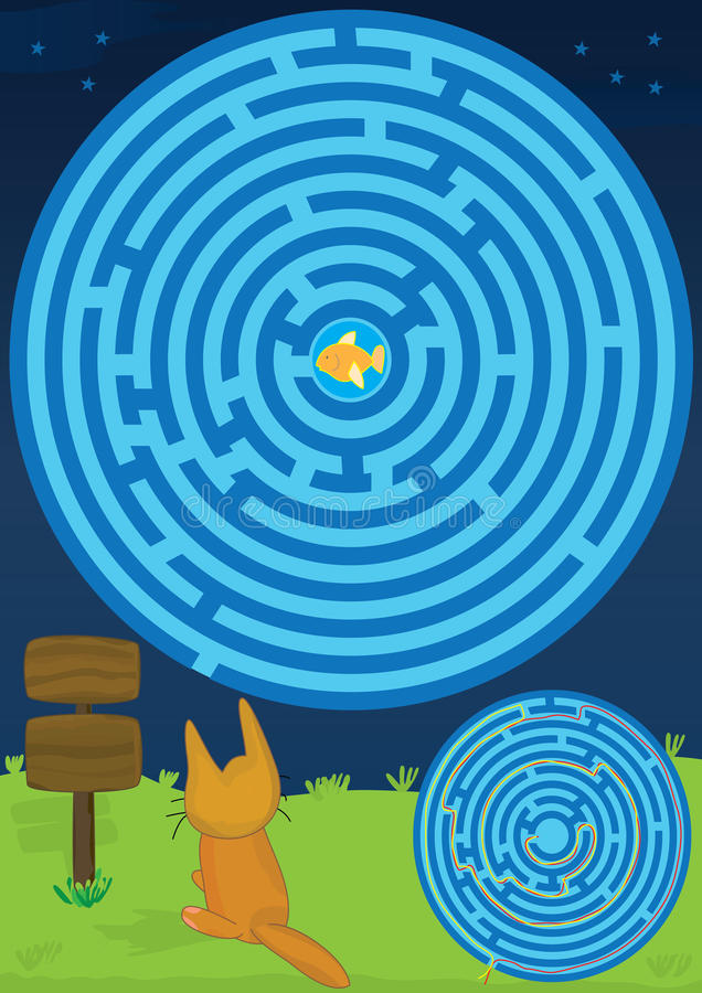 Labyrinth Cat Find Fish Two Ways_eps vector illustration