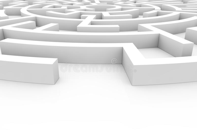 Labyrinth. Difficulty concept: white labyrinth render royalty free illustration