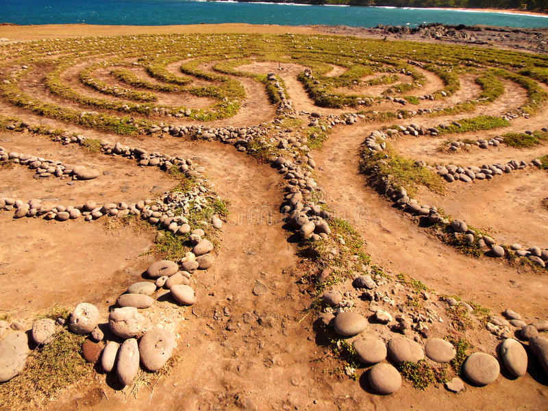 Labyrinth. Famous Maui stone labyrinth located on the west coast oceanfront at a location called the Dragon's Teeth stock images