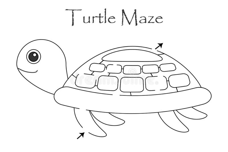 Labyrinth game, find a way out of the maze, middle level for toddlers, cartoon turtle, preschool worksheet activity for kids, task stock illustration