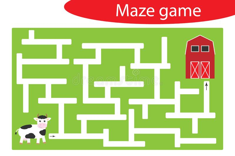 Labyrinth game, help the cow to find a way out of the maze, cute cartoon character, preschool worksheet activity for kids, task. For the development of logical vector illustration