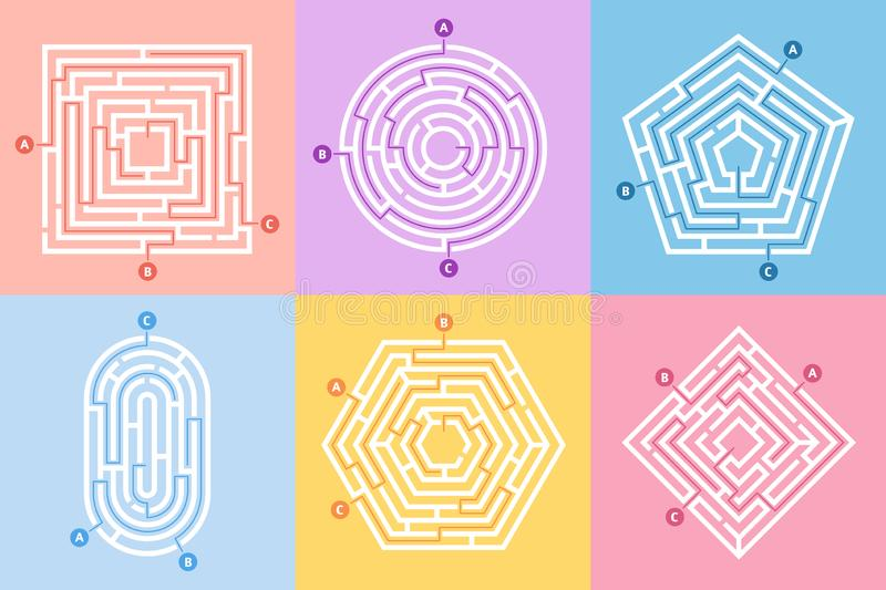 Labyrinth game. Maze conundrum, labyrinth way rebus and many entrance riddle vector concept illustration set vector illustration