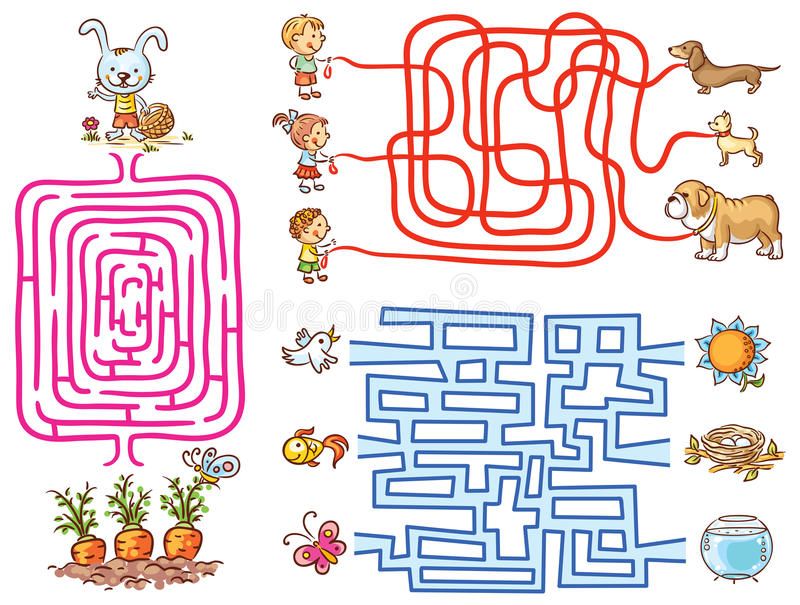 Labyrinth games set for preschoolers: find the way or match elements stock illustration