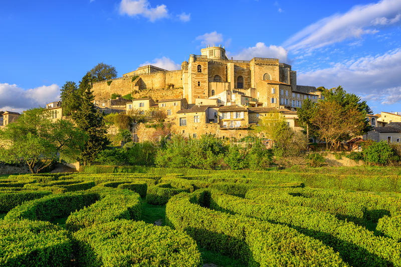 Labyrinth garden and castle Grignan, Drome, France. Labyrinth garden beneath the hilltop town and castle Grignan, Drome, France stock photography