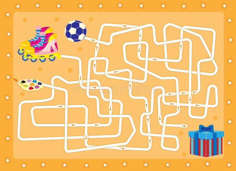 labyrinth Geschenk finden Sie, das im Kasten ist stockbild