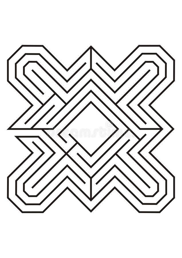 Labyrinth illustration in black and white royalty free stock photography