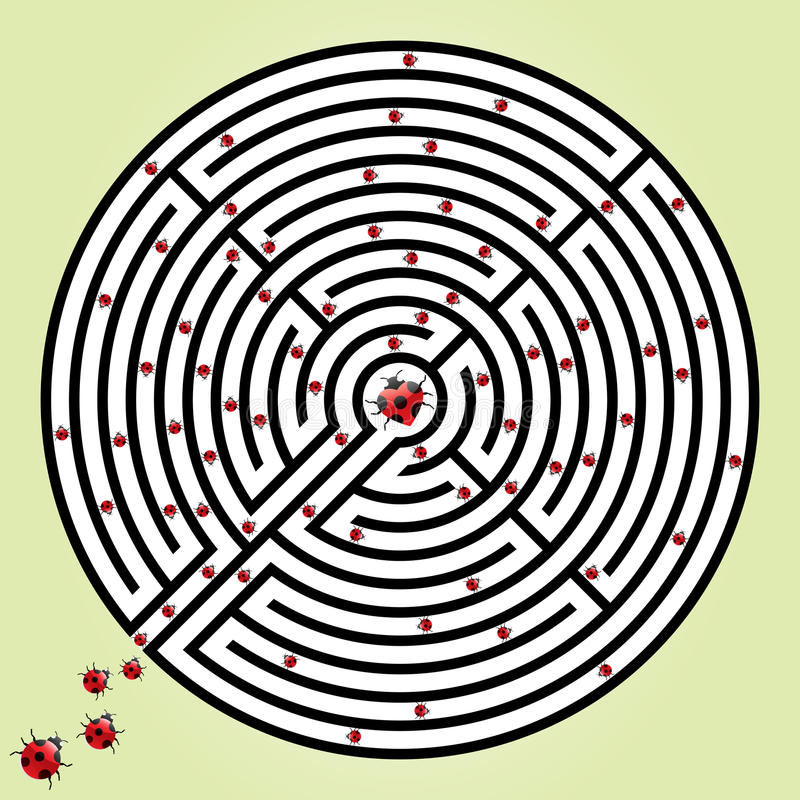Labyrinth With Ladybugs Royalty Free Stock Photo
