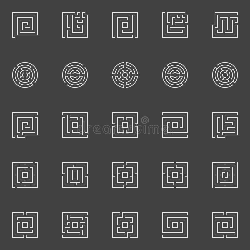 Labyrinth linear icons stock illustration