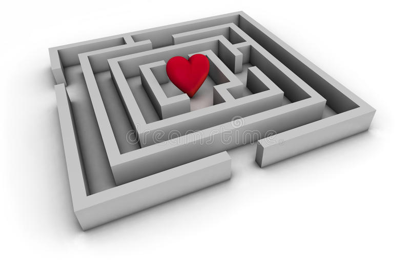 Labyrinth Of Love. Love concept with labyrinth and a red heart on white background. Top view royalty free illustration