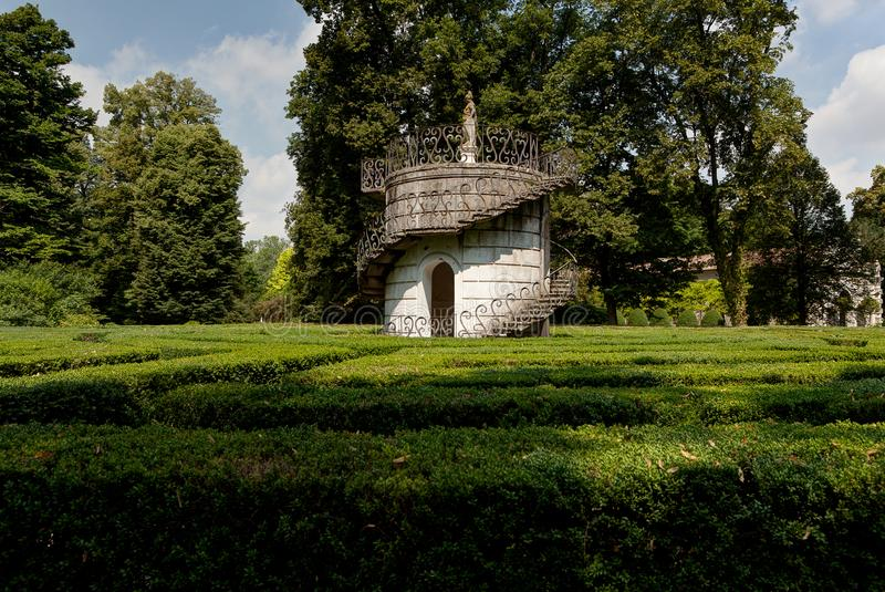 Labyrinth of Love park Villa Pisani, Stra, Veneto, Italy. The labyrinth of love or maze in the park of the baroque Palladian villa or palace in Stra near Venice royalty free stock photography