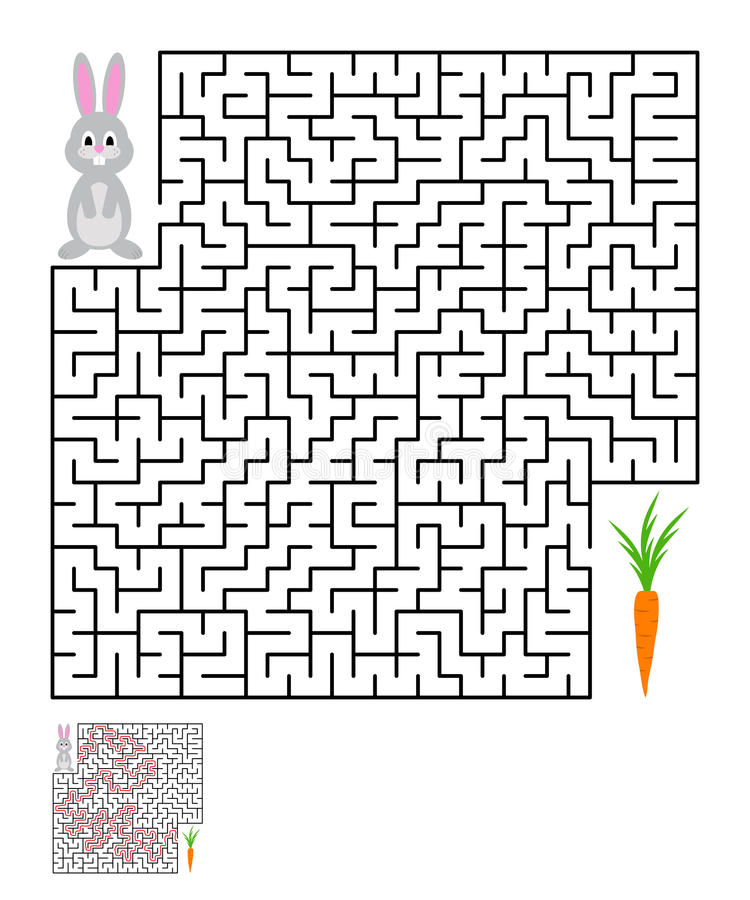 Labyrinth, maze conundrum for kids. Entry and exit. Children puzzle game. Help the rabbit to reach the carrots. Vector illustration stock illustration