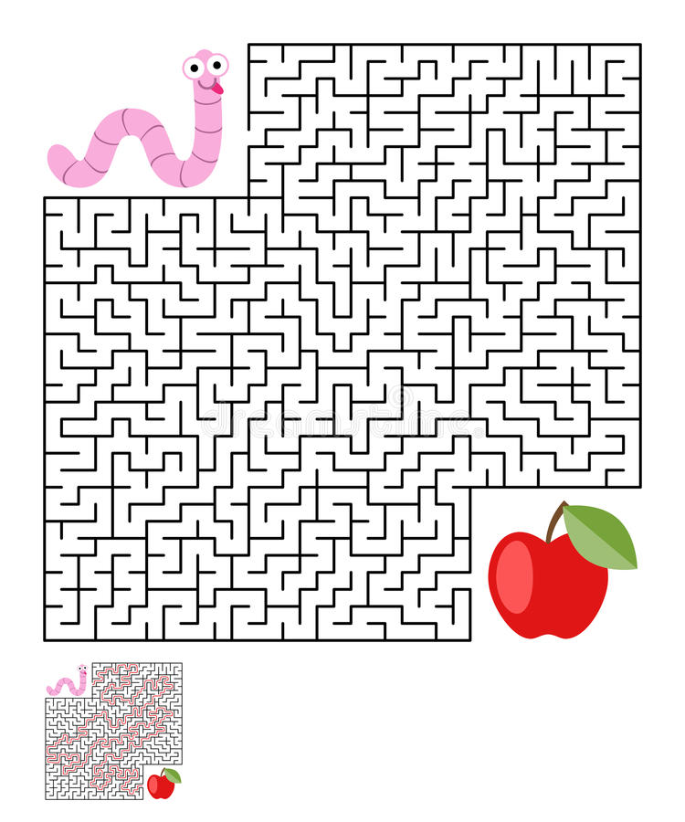 Labyrinth, maze conundrum for kids. Entry and exit. Children puzzle game. Help the worm to crawl to apple. Vector illustration royalty free illustration