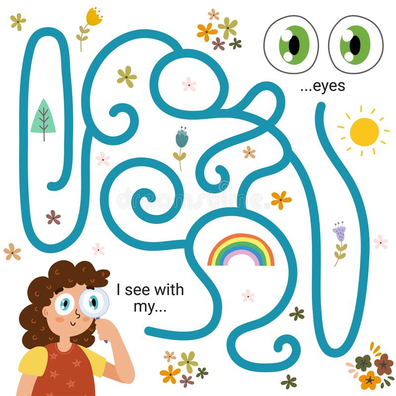 Free Labyrinth Maze Game For Kids - Sight. I See With My Eyes. Five Senses Learning Activity Page Royalty Free Stock Image - 198319466