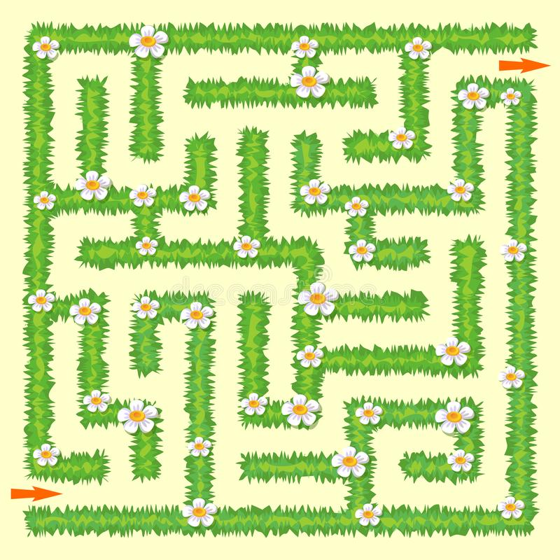 Labyrinth. Maze game for kids. Green grass and chamomiles stock illustration
