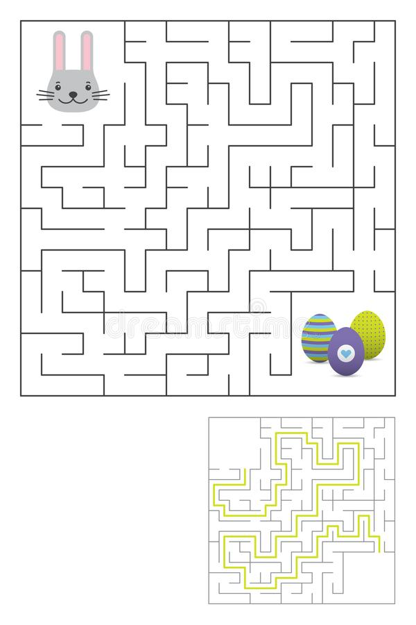 Free Labyrinth Maze Game With Solution. Easter Fun Stock Image - 109368101