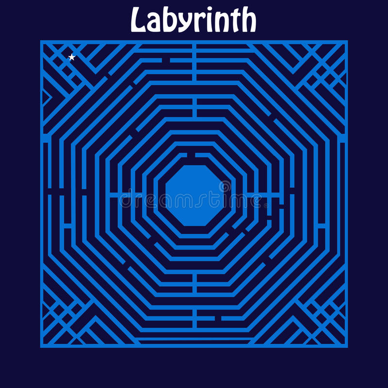 Labyrinth Maze. With star marking the start point to find one way into the middle vector illustration