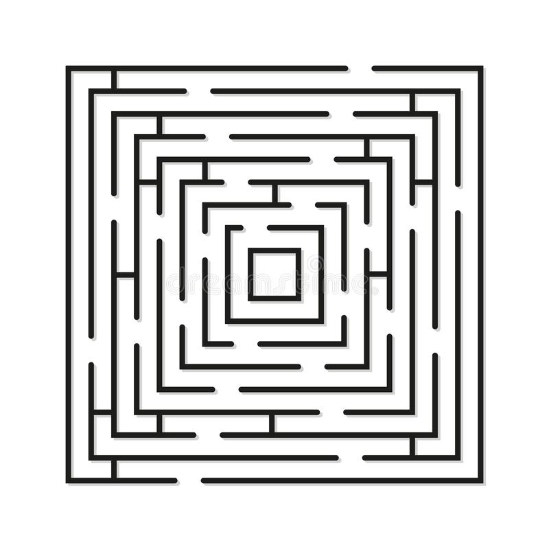 Labyrinth minimal icon. Vector concept square maze symbol or logo element in thin line style stock photo
