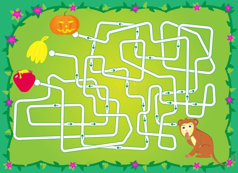Labyrinth mit Affen, Bananen, Kürbis, Honig helfen Sie einem Affen, Banane zu halten stockfotos
