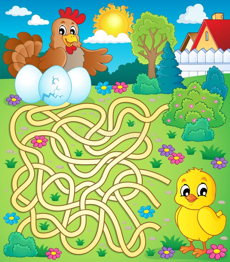 Labyrinth 4 mit Henne und Huhn stock abbildung