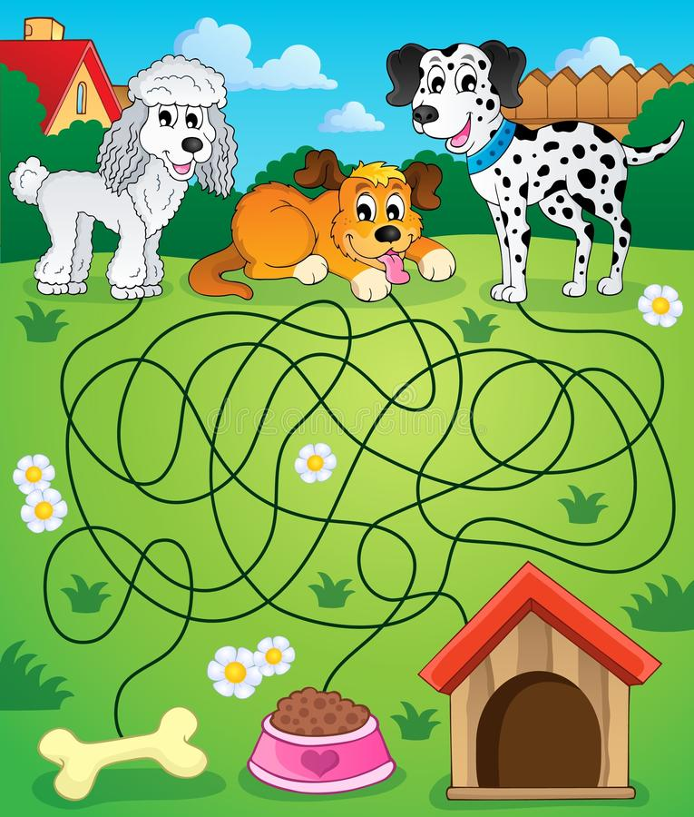 Labyrinth 14 mit Hunden vektor abbildung