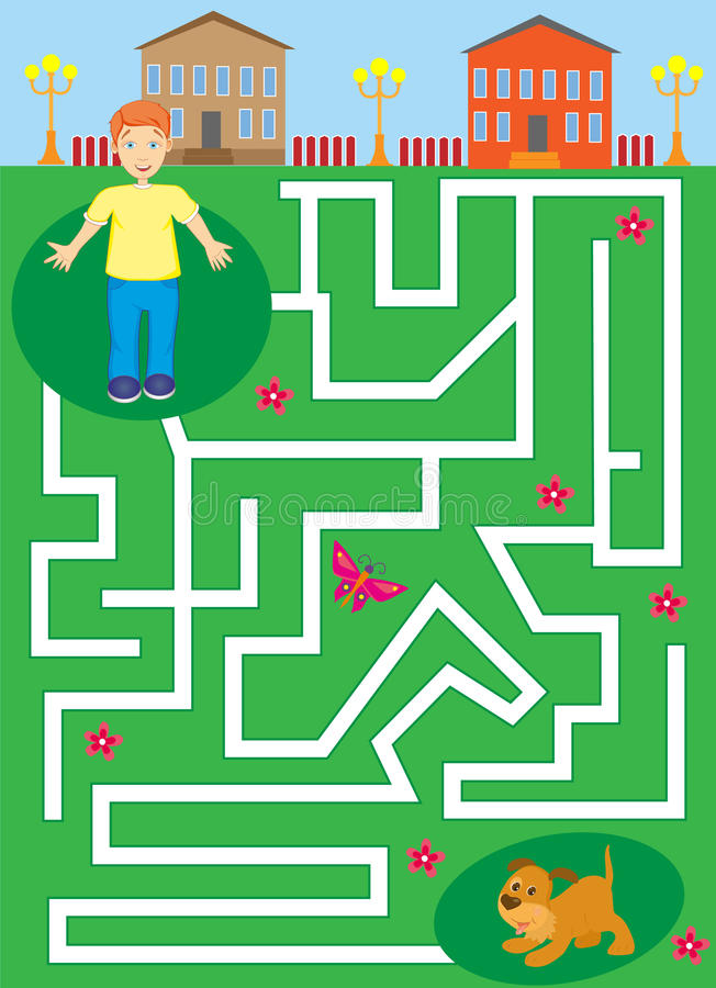 Labyrinth mit Jungen und Welpen Haustierlabyrinth helfen Sie dem Jungen, seinen Hund zu finden stockfotos