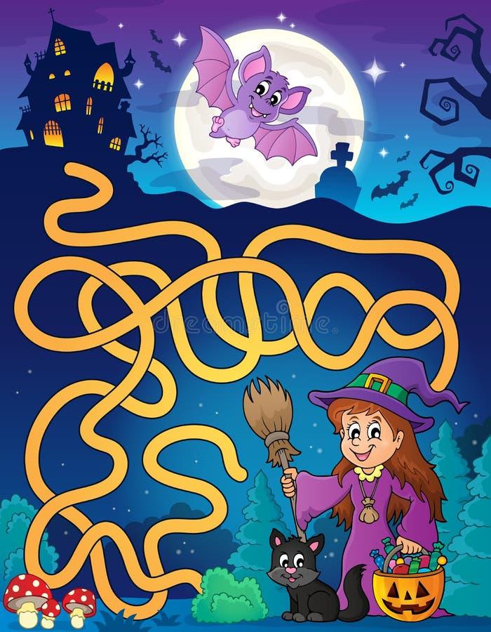 Labyrinth 7 mit netter Hexe und Katze vektor abbildung